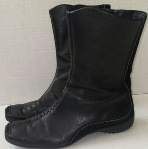 Paul Green Black Leather Suede Midcalf Boots 6.5